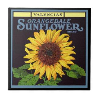 Girasol de Orangedale del arte de la etiqueta del Azulejo Cuadrado Pequeño
