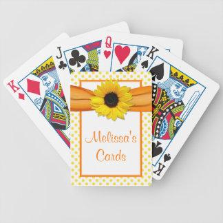 Girasol del lunar del amarillo anaranjado personal baraja cartas de poker