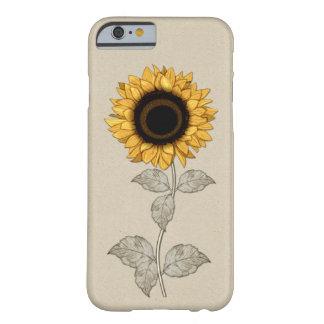 girasol del oro amarillo del vintage del caso del funda de iPhone 6 barely there