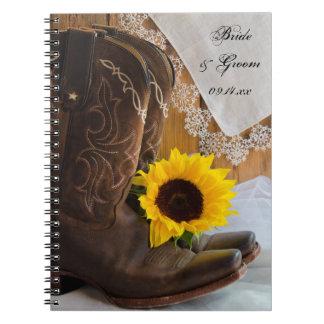 Girasol del país y boda occidental del cordón libros de apuntes con espiral