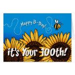 girasol del rastro de la abeja - 100 años felicitación