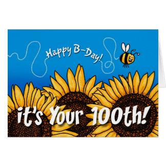 girasol del rastro de la abeja - 100 años tarjeta de felicitación
