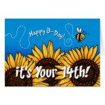 girasol del rastro de la abeja - 14 años tarjeta