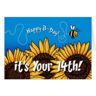 girasol del rastro de la abeja - 14 años tarjeta de felicitación