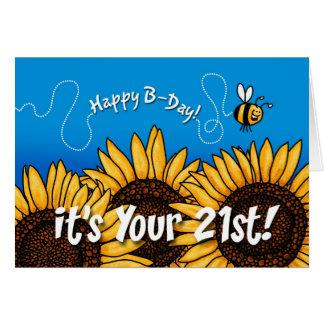 girasol del rastro de la abeja - 21 años tarjeta de felicitación
