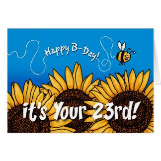 girasol del rastro de la abeja - 23 años tarjeta de felicitación