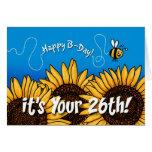 girasol del rastro de la abeja - 26 años felicitaciones
