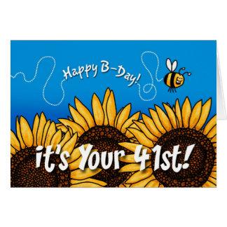 girasol del rastro de la abeja - 41 años tarjeta de felicitación