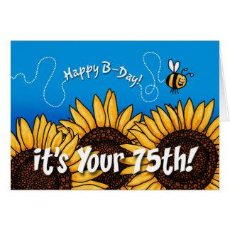girasol del rastro de la abeja - 75 años tarjeta de felicitación