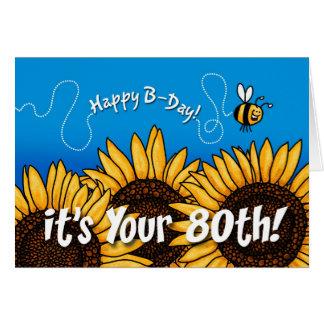 girasol del rastro de la abeja - 80 años tarjeta de felicitación