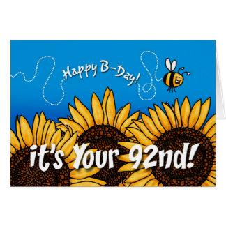 girasol del rastro de la abeja - 92 años tarjeta de felicitación