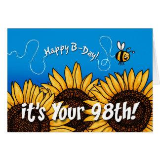 girasol del rastro de la abeja - 98 años tarjeta de felicitación