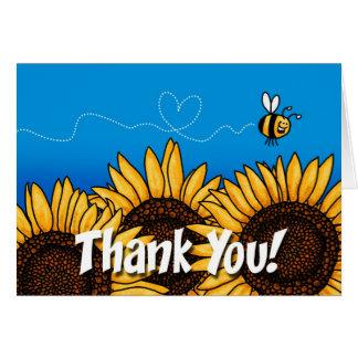 girasol del rastro de la abeja - gracias tarjeta de felicitación
