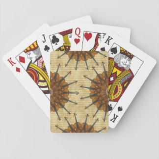 Girasol del violín en rayas de oro baraja de cartas