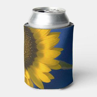 Girasol en el boda azul enfriador de latas