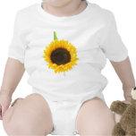 Girasol en el fondo blanco trajes de bebé