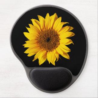 Girasol en el negro - plantilla de la flor de Sun  Alfombrilla Con Gel