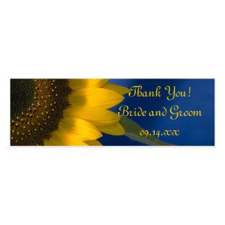 Girasol en etiquetas azules del favor del boda plantilla de tarjeta de negocio