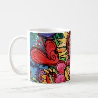 Girasol en florero rosado taza