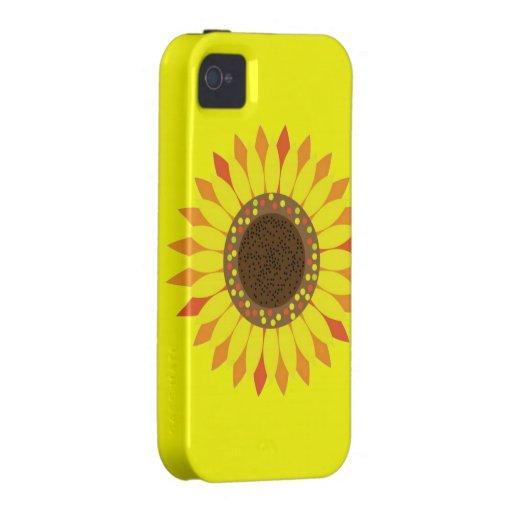 Girasol en fondo de color amarillo oscuro iPhone 4 carcasa