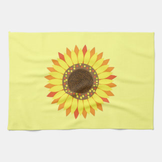 Girasol en fondo de color amarillo oscuro toallas