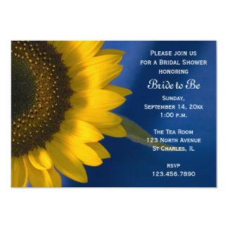 Girasol en la invitación nupcial azul de la ducha invitación 12,7 x 17,8 cm