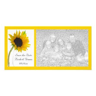 Girasol en la reserva blanca del boda la fecha tarjetas fotograficas personalizadas