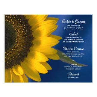 Girasol en menú azul del boda flyer personalizado