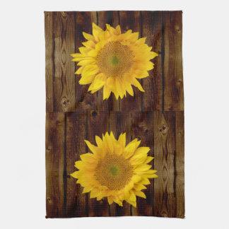 Girasol en país de madera del granero del vintage toalla