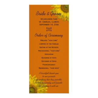 Girasol en programa anaranjado del boda tarjetas publicitarias a todo color