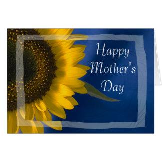 Girasol en tarjeta azul del día de madres tarjeta de felicitación