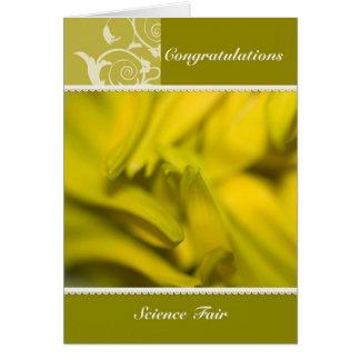 Girasol - enhorabuena de la feria de ciencia tarjeta de felicitación