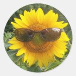 Girasol feliz con el pegatina de las gafas de sol