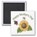 girasol feliz del día de madres, mariposa, abeja iman de frigorífico
