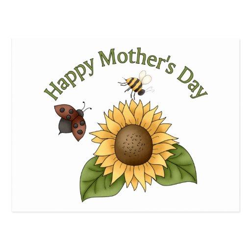 girasol feliz del día de madres, mariposa, abeja postal