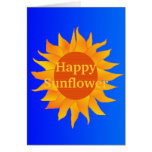 Girasol feliz en el cielo azul tarjeta