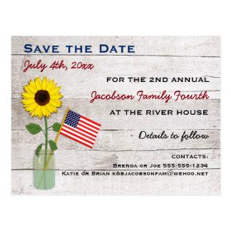 Girasol fiesta del 4 de julio o reserva de la postal