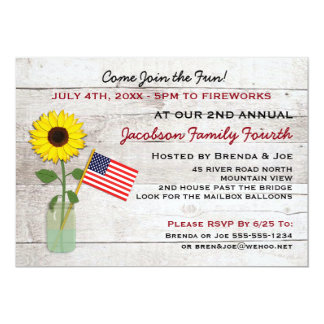 Girasol fiesta del 4 de julio, reunión, invitación invitación 12,7 x 17,8 cm