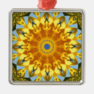 Girasol, Flor-Mandala (Blumen-Mandala) Adorno Navideño Cuadrado De Metal