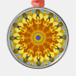 Girasol, Flor-Mandala (Blumen-Mandala) Adorno Navideño Redondo De Metal