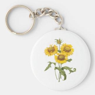 Girasol floral de la flor combinada del vintage llavero redondo tipo pin