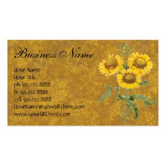 Girasol floral de la flor combinada del vintage tarjetas de visita
