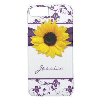 Girasol floral púrpura del amarillo del damasco funda iPhone 7