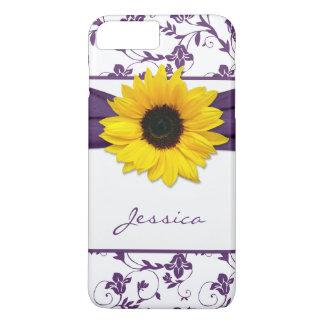Girasol floral púrpura del amarillo del damasco funda iPhone 7 plus