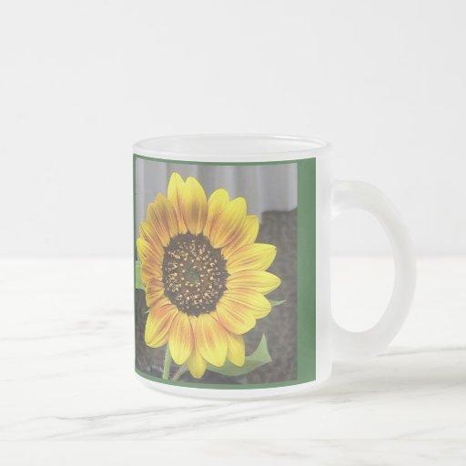 Girasol grande del vidrio esmerilado taza de café esmerilada
