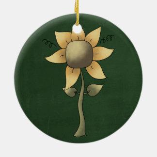 Girasol hermoso del arte popular adorno redondo de cerámica