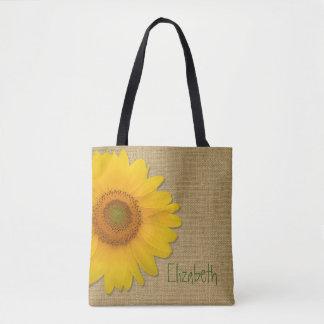 Girasol lindo del país en personalizado de la bolsa de tela