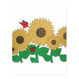 Girasol, mariposa y una mariquita en una suma tarjeta postal