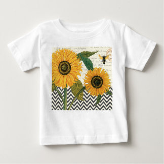 girasol moderno del francés del vintage t shirt