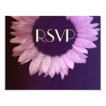 Girasol moderno púrpura rosado que casa RSVP Comunicados Personalizados